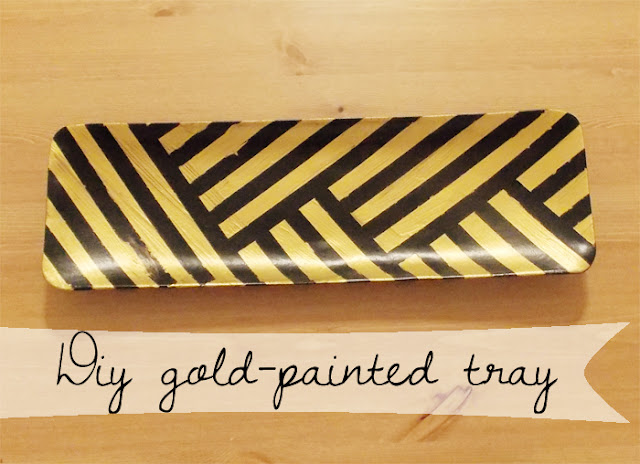 DIY Gold Painted Herringbone Tray