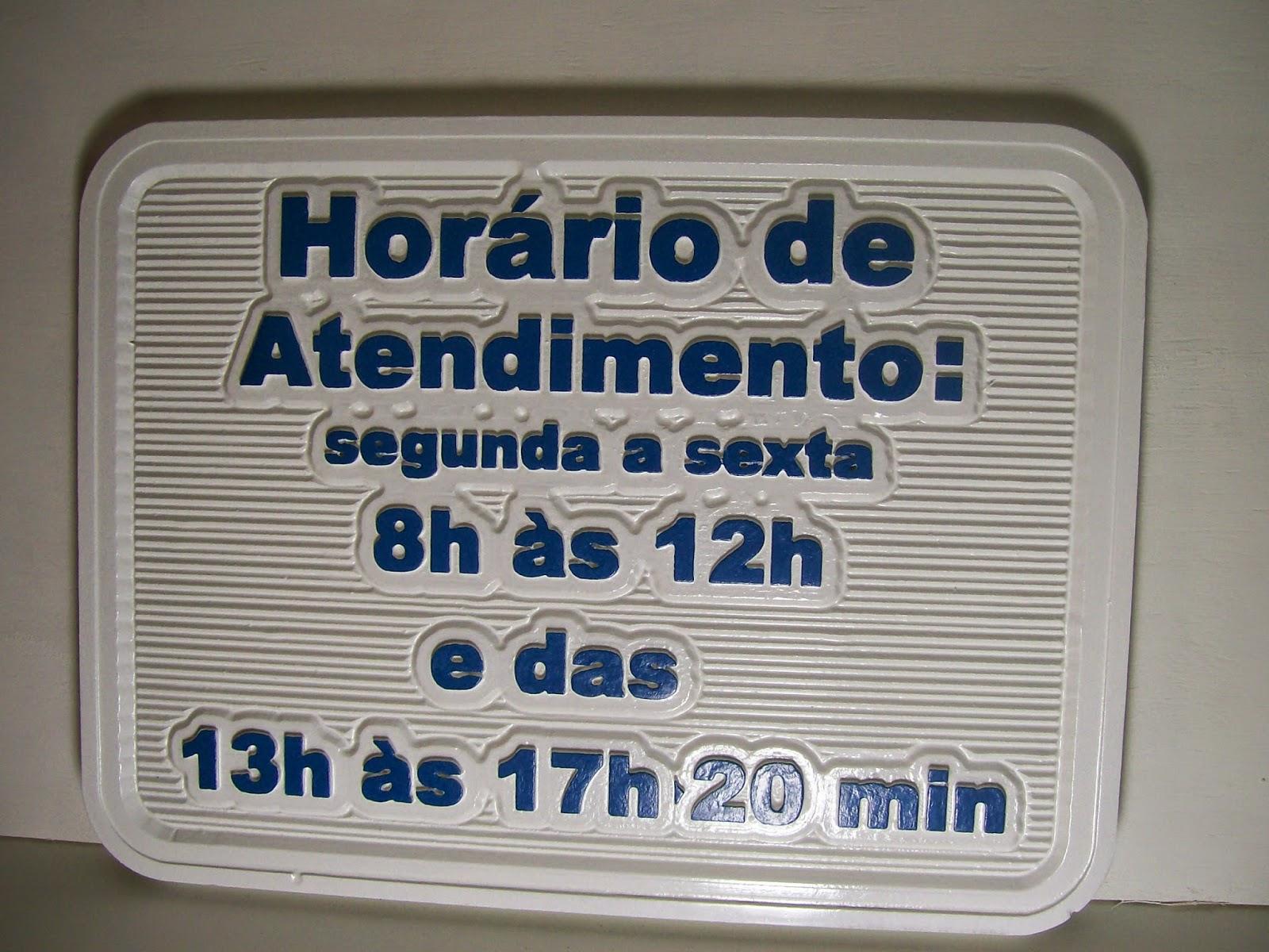 placa de horário de funcionamento