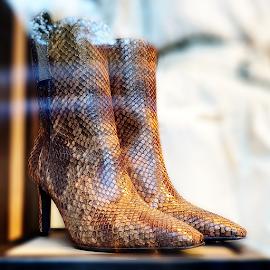 Brunello Cucinelli Snakeskin booties.