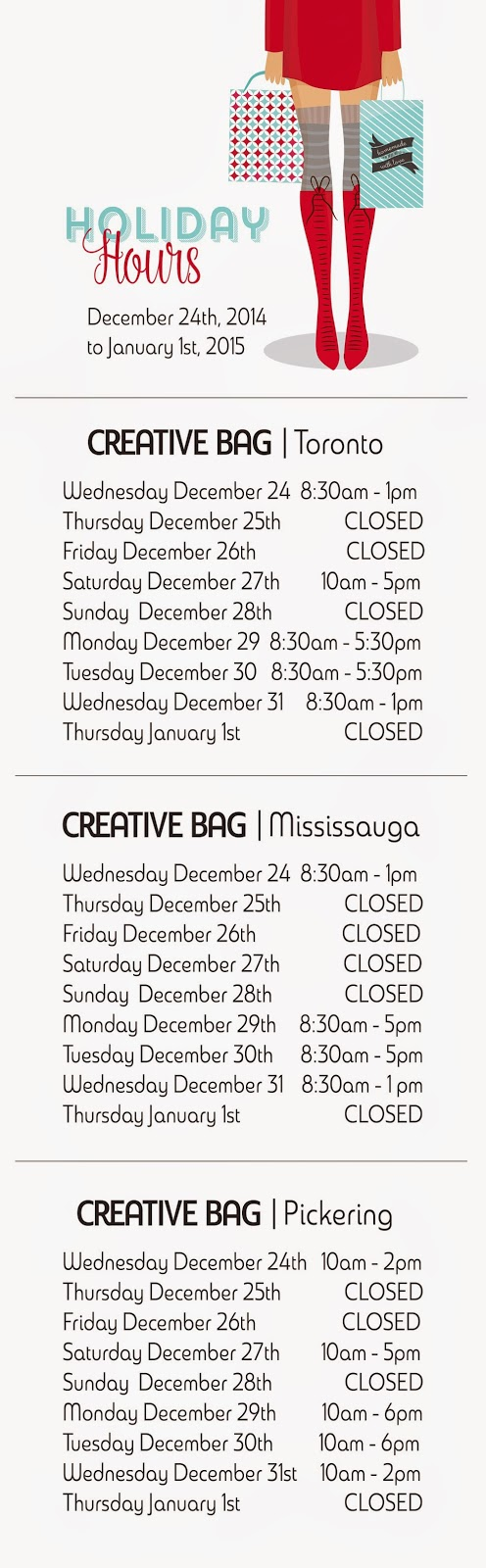 holiday hours at Creative Bag