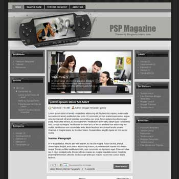 PSP Magazine Blogger Template. free tech blogger template