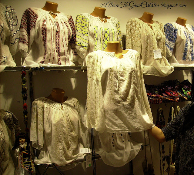 "Night of museums, may, 2015. Popular costumes. Various types of traditional romanian blouse called ""Ia"""