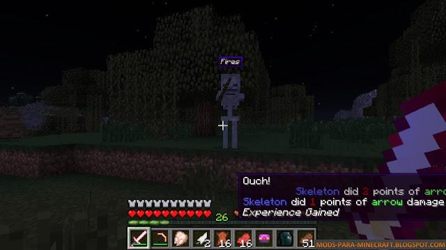 El Mod BattleText nos muestra información de cuanto daño hace un mob en Minecraft, en este caso un esqueleto
