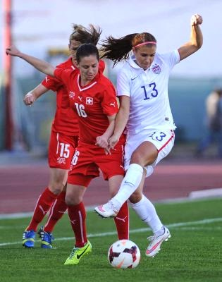 USA 3-0 Switzerland in 2015 Algarve Cup group play