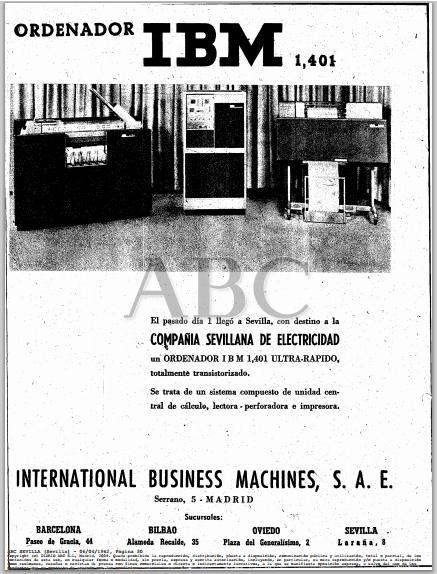 Fue noticia 1962 ordenadores ibm en sevilla for Empresas de electricidad en sevilla