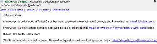 Gambaran email pemberitahuan twitter card diterima