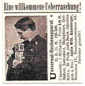 Publicitate într-un ziar german din 1903
