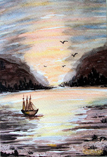 sunset,boat,sea,birds,sky,scene,illustration, painted,watercolor,water,miniature,landscape