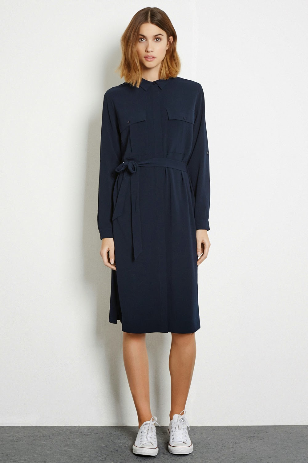 warehouse navy dress, navy shirt dress,