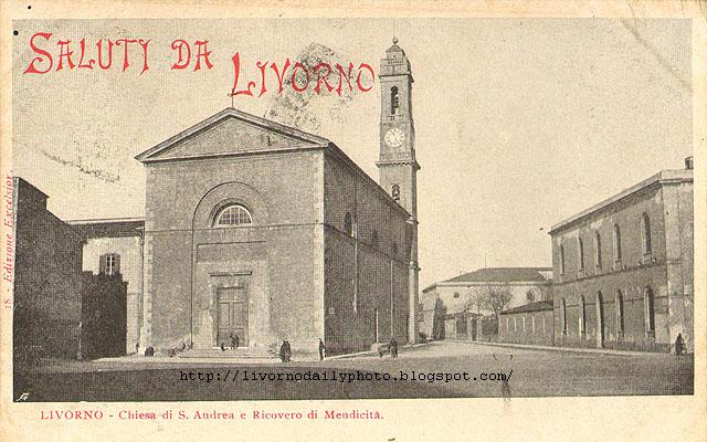 Old postcard of the church of Sant'Andrea, Livorno