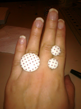 Button Style Ring and Earring Set (purple polka dot)