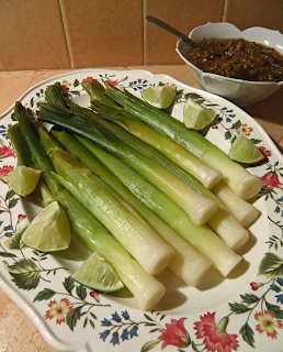 Platter of Leeks with Salsa and Lime on the Side