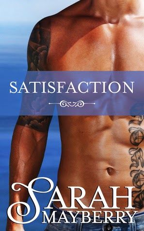 Cover description, Satisfaction: Close up of a shirtless man, we can only see his torso, he's wearing jeans and has a tattoo down his arm and on his stomach.