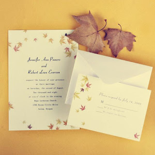 maple leaves fall wedding invitations