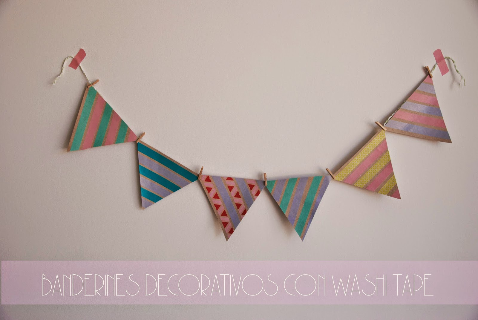 BANDERINES DECORATIVOS DE PAPEL KRAFT Y WASHI TAPE