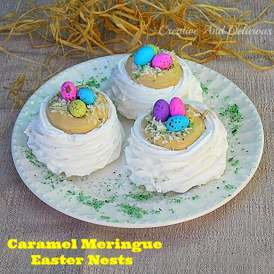 Caramel Meringue Easter Nests ~ Quick, easy and fun Easter treats ! #Easter #EasterTreats