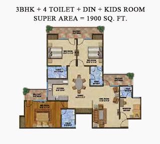 The Romano :: Floor Plans,Type C:-Super Area - 1900 Sq. Ft.