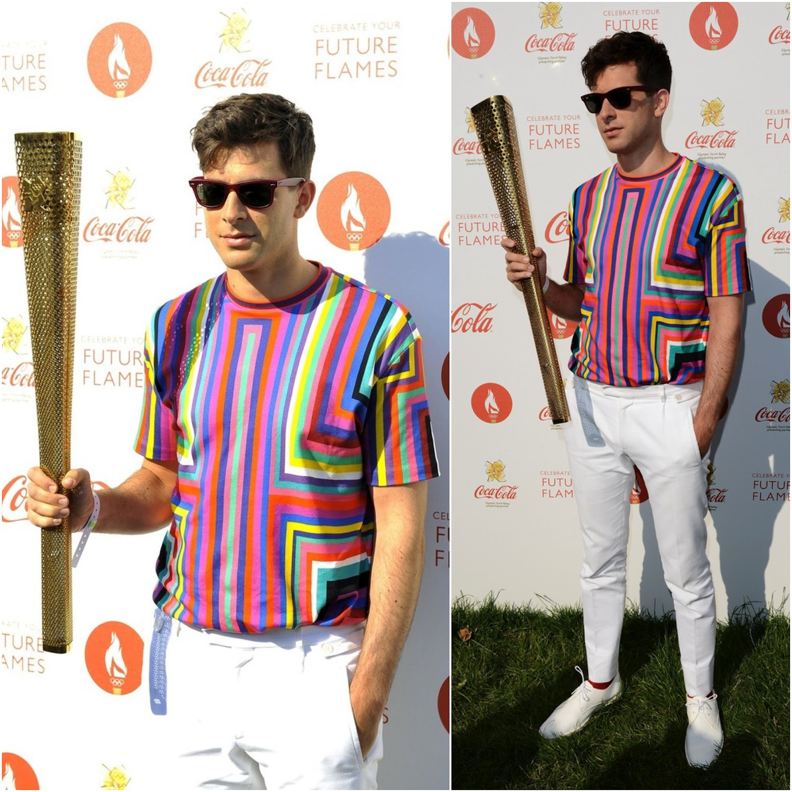 00O00 London Menswear Blog celebrity style Music producer Mark Ronson attends the Olympic Torch Relay Coca Cola Concert at Hyde Park in London in Raf Simons for Jil Sander Spring Summer 2011