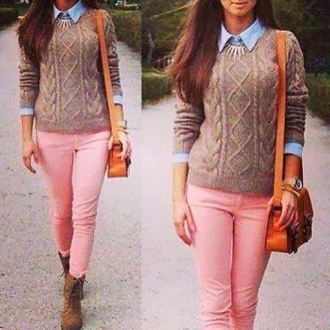 Fashion Loose show thin sweater , Stylish Candy color casual-Jeans Jeans_BT