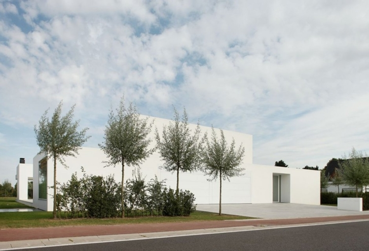 White Minimalist Home by Beel & Achtergael Architects