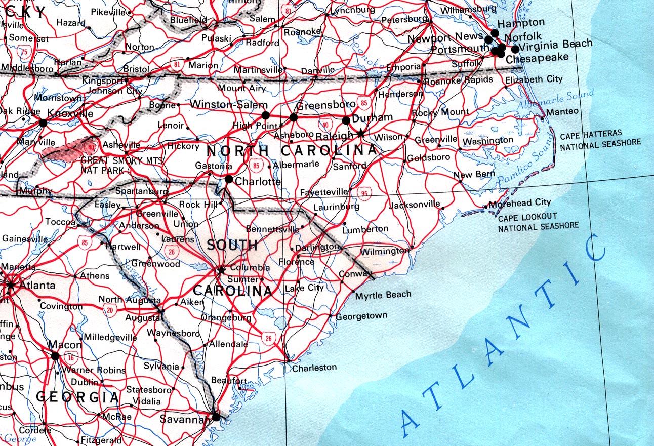 Kaart Zuidelijke Staten Verenigde Staten