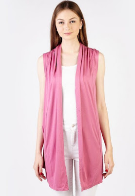 Model Cardigan Tanpa Lengan Pink Cantik