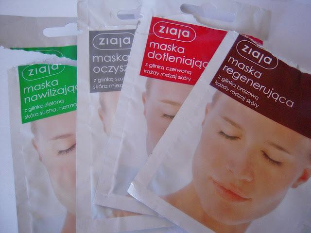 Maski w saszetkach firmy Ziaja / nawilżająca, oczyszczajaca, dotleniajaca, regenerująca