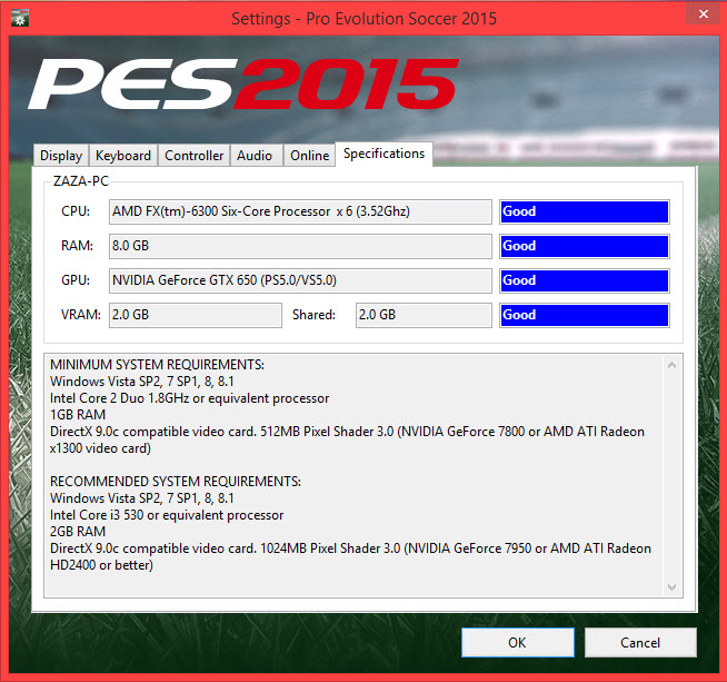 PES 2015 System Requirements