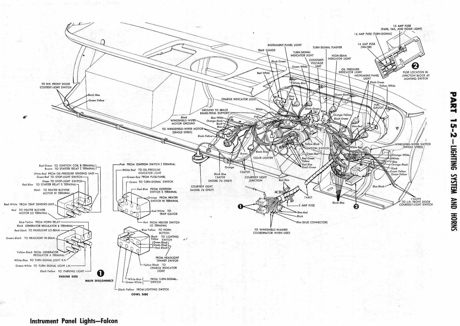 Ford Falcon 1964 Lighting System And Horns Wiring Diagram