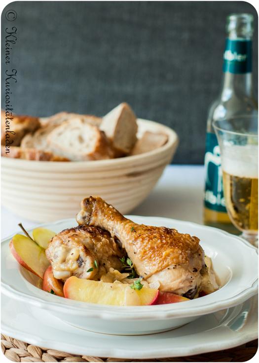 Poulet Vallée d'Auge - Hühnchen mit Cidre und Apfelbrand