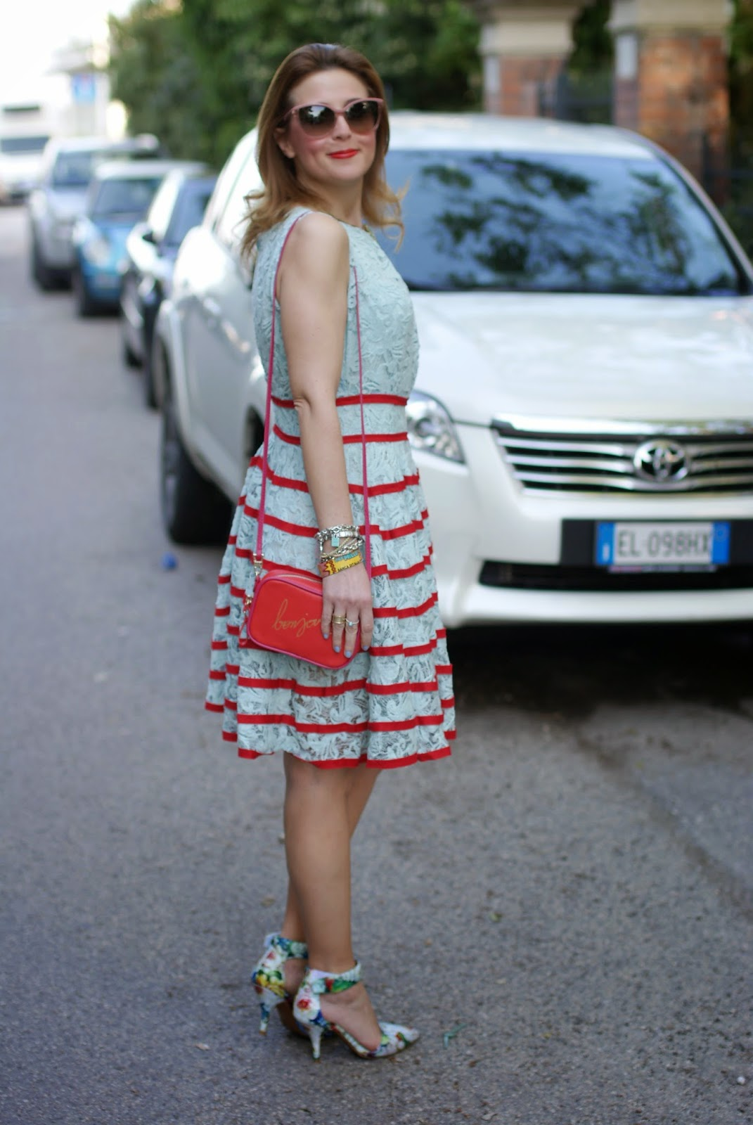 flower ankle strap pumps, chicwish lace dress, bonjour bag, Fashion and Cookies, fashion blogger