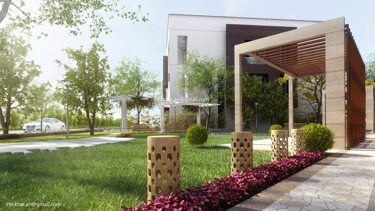 Stare modern contemporary landscape designs in 3dsmax for Landscape exterior design
