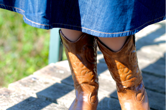 Denim skirt and tan cowboy boots