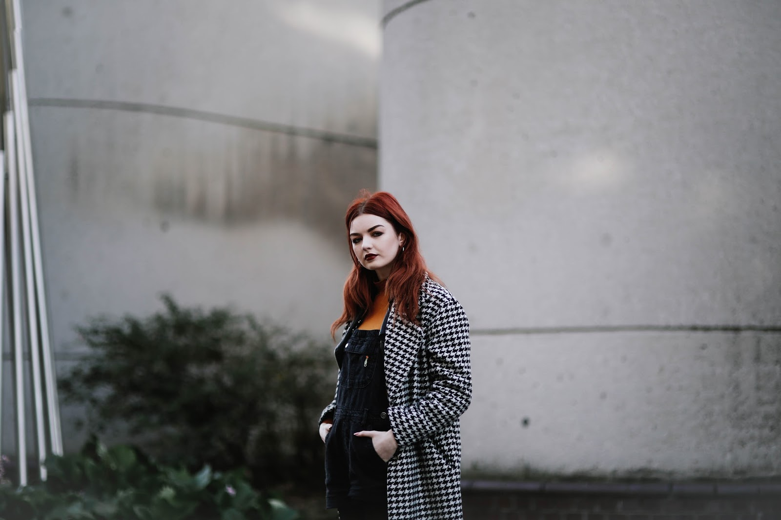 houndstooth coat black denim dungarees