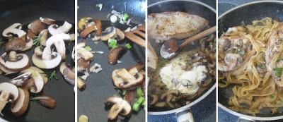 Zubereitung Putenschnitzel mit Pilz-Cognac-Sauce und Tagliatelle