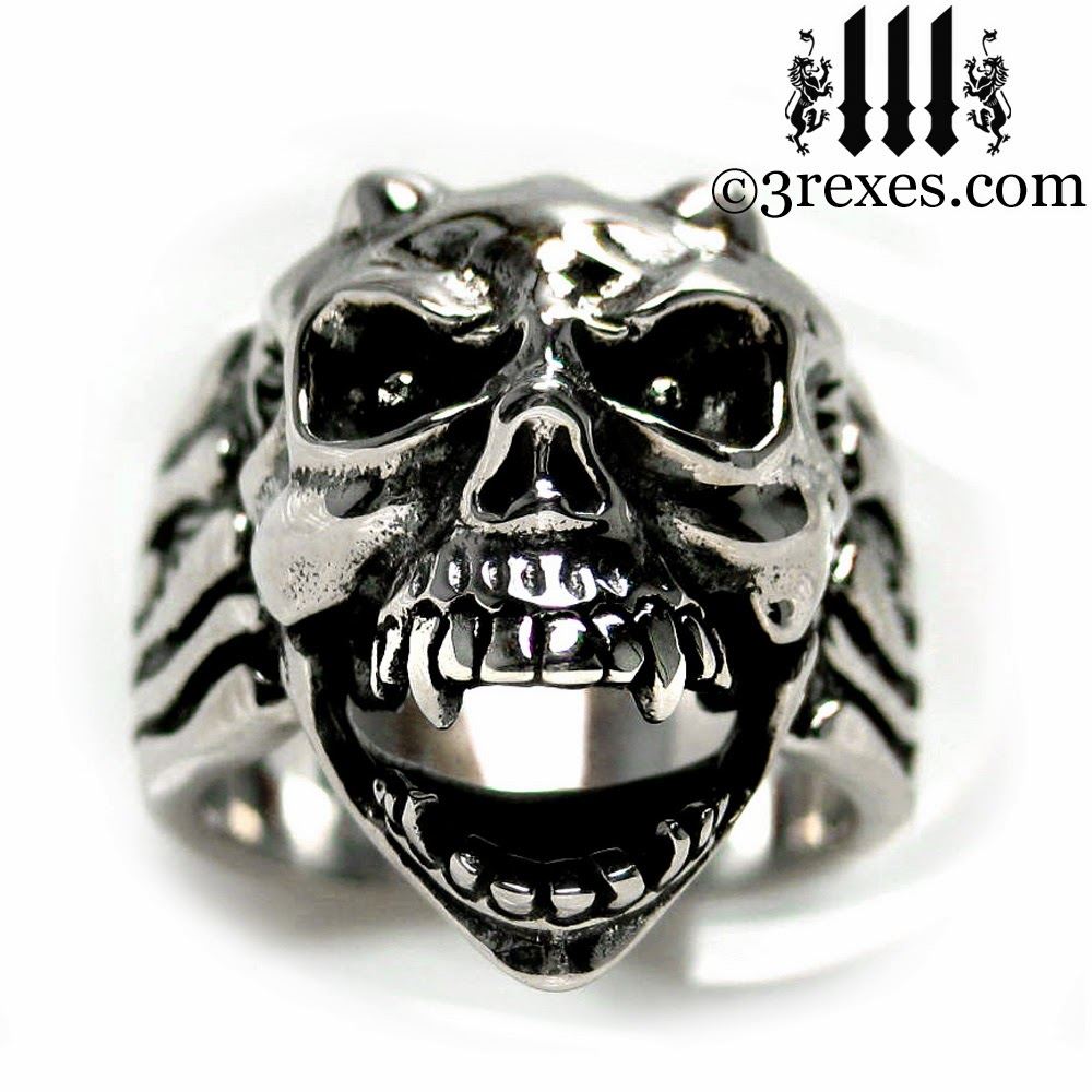 mens gothic skull ring devil gargoyle silver band