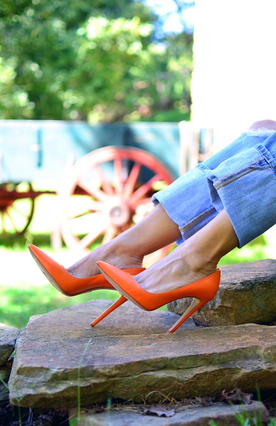 Prada orange pumps