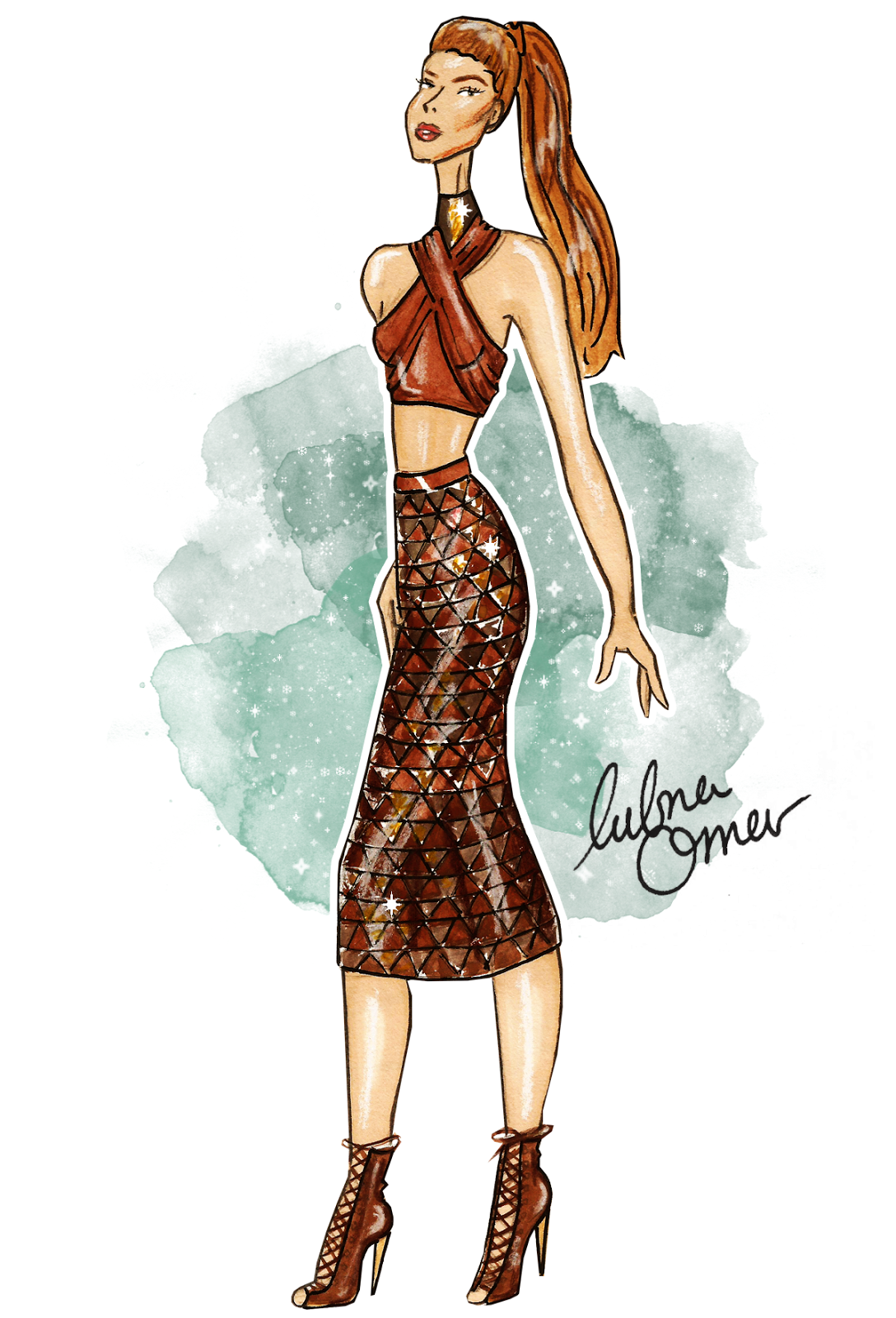 Gigi Hadid in Balmain SS16 illustration by Lubna Omar