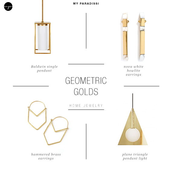 Ceiling  light jewels for the home | Geometric golds
