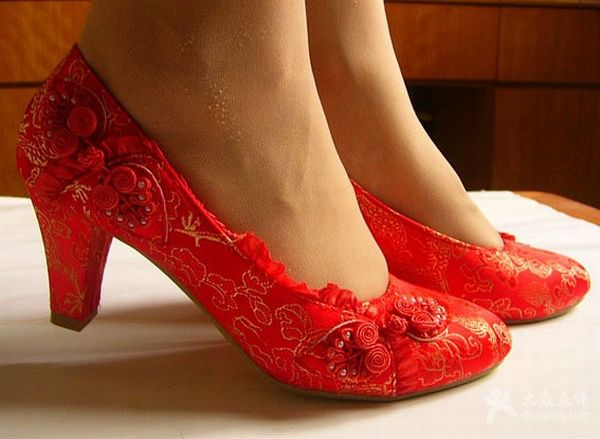 Red Weding Shoes Low Hel 010 - Red Weding Shoes Low Hel