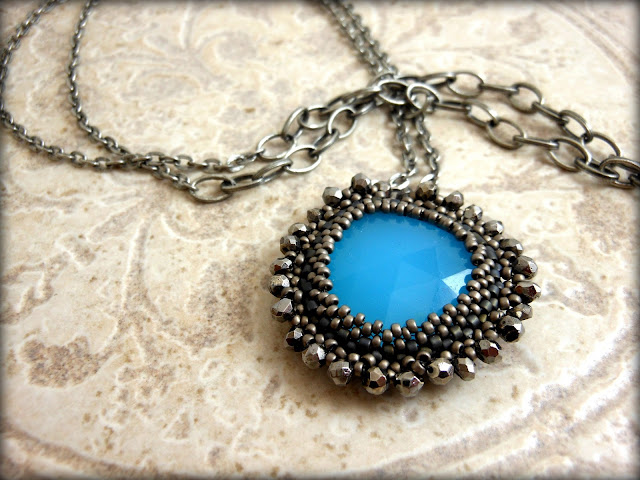 Blue Chalcedony Pendent Embellished with Pyrite