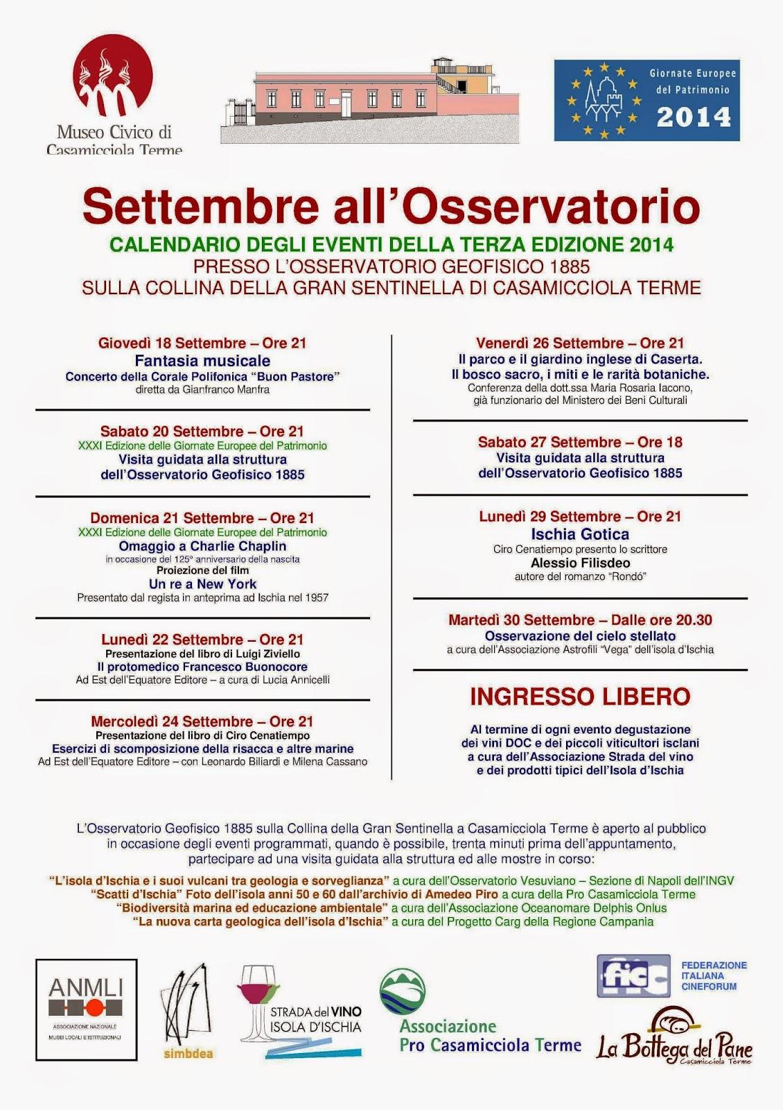Settembre all'Osservatorio  Calendario degli eventi della terza edizione 2014