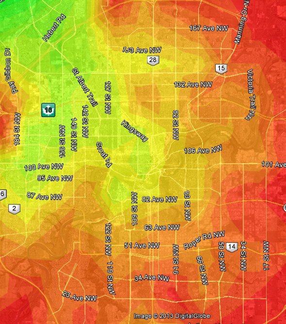 Edmonton Transit heat map based on St Albert