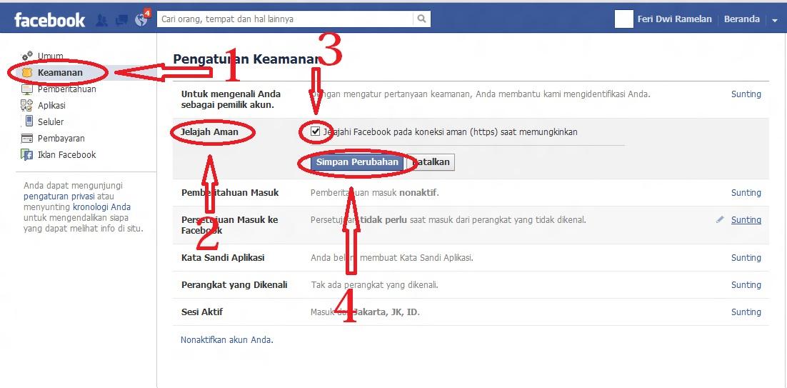 ... buka situs facebook lalu log in di tempat yang facebooknya di blokir