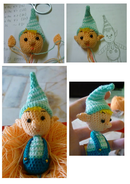 Crochet amigurumi christmas blue elf pattern idea cute