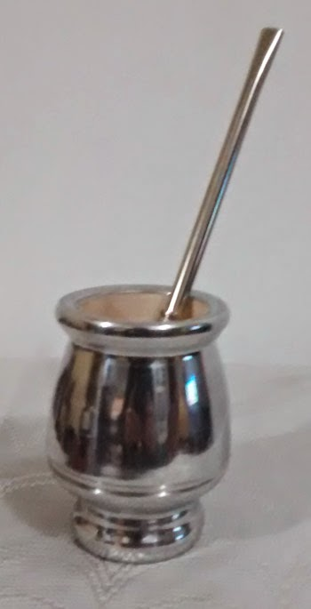 Mate de Madera recubierto de aluminio - S/ 45.00