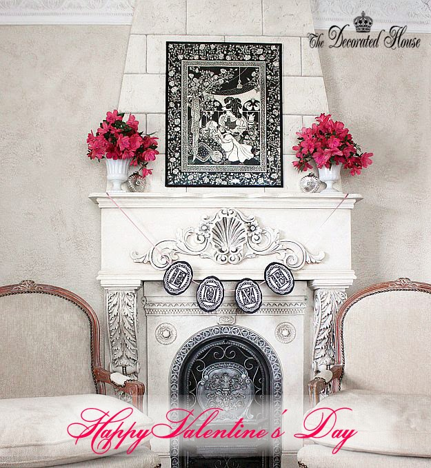 The Decorated House - Valentine's Day Mantel 2014. Black & White Art of Beauty and The Beast, Silver Mercury Glass Hearts, Milk Glass with Pink Azaleas