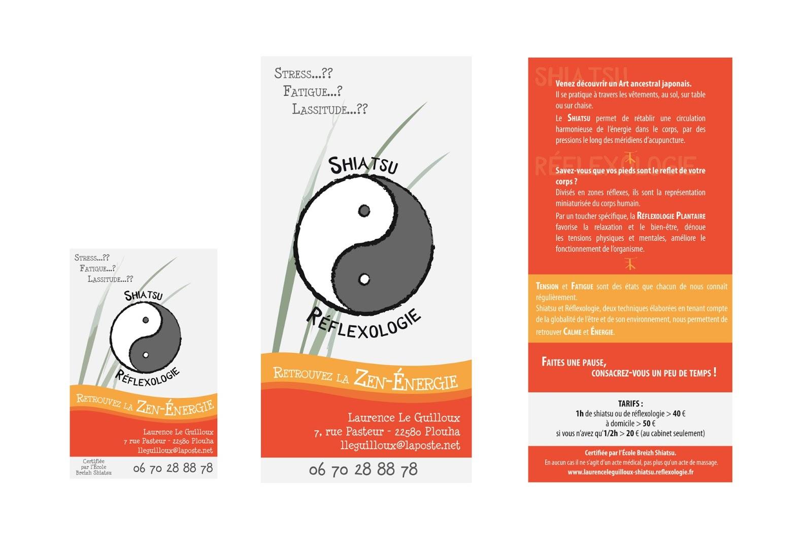 Creation Dune Carte De Visite Et Dun Flyer Pour Zen Energie Reflexologie