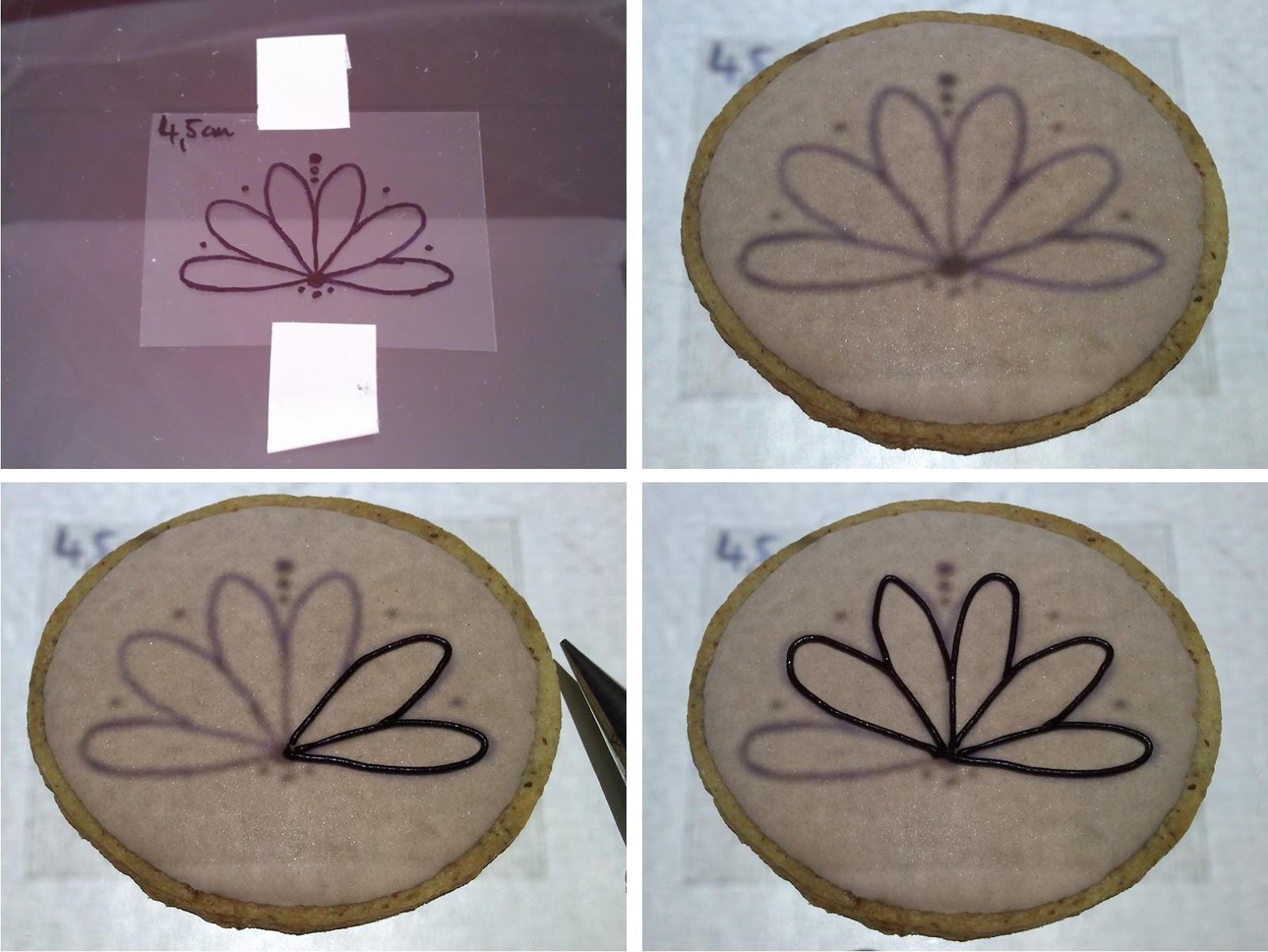 Projecting and tracing the image on a cookie