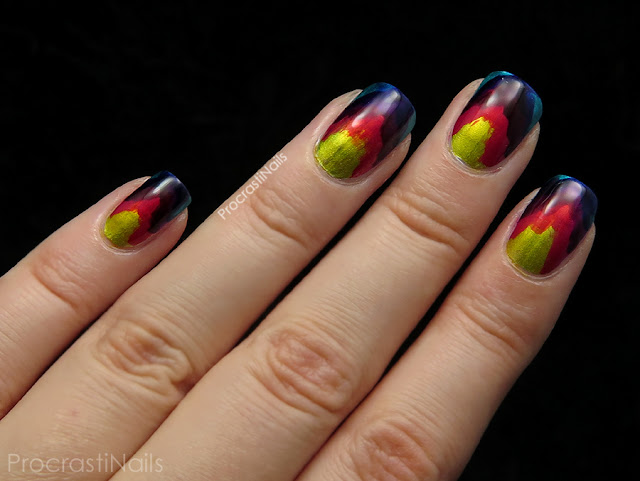Rainbow ikat with OPI Color Paints Primarily Yellow, Pen & Pink, Purple Perspective and Turquoise Aesthetic